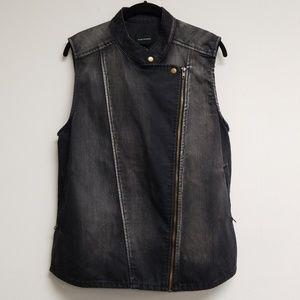 Club Monaco Black Jean Zip Up Vest Size 6